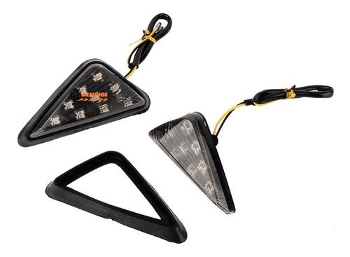 2 direccionales led para moto triangular universal humo