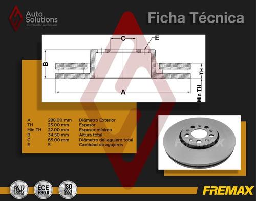 2 discos de freno (d) audi a1 tfsi 1.4 l4 2011-2018 (288mm)