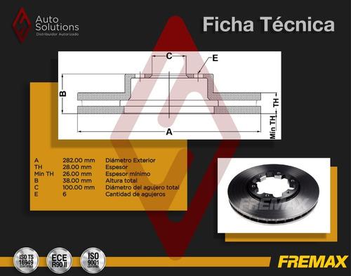 2 discos de freno (d) nissan frontier 3.3 v6 2003-2004