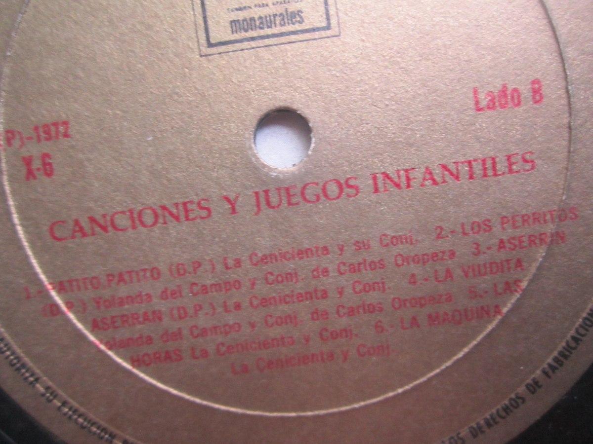 2 Discos Vinilo Con Canciones Y Juegos Infantiles Antiguos