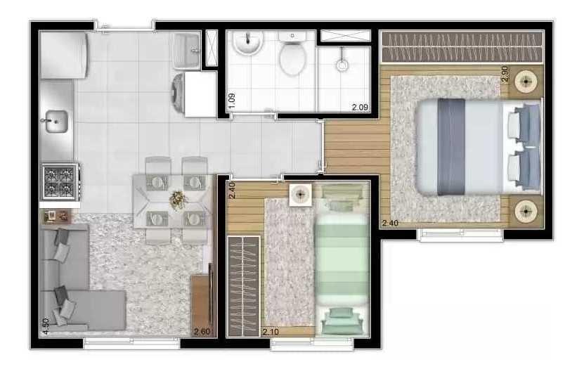 2 dormitórios- campo limpo- minha casa minha vida 163 mil