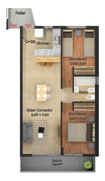 2 dormitorios. financiación en pesos. departamento. rosario.