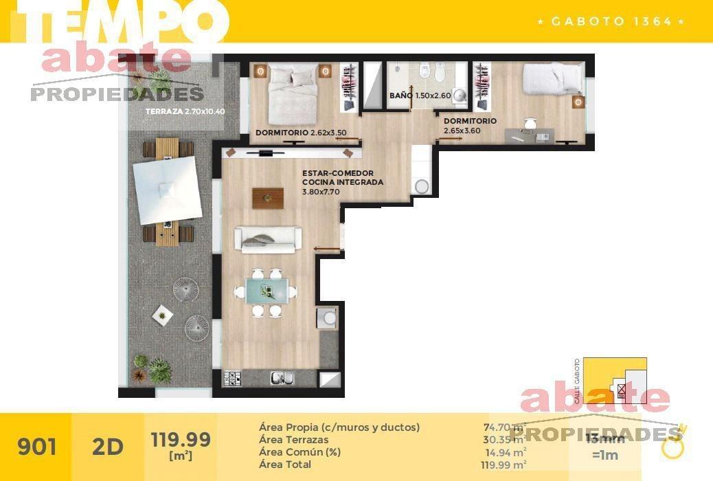 2 dormitorios   gaboto al 1300