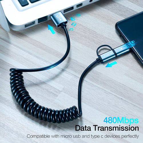 2 en 1 cable quick charge 3.0 micro usb tipo c carga rápida