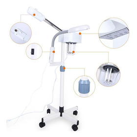2 En 1 Facial Vaporizador Lupa Lámpara Caliente Máquina De