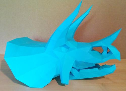 2 esculturas de papel esqueleto cabeça t rex e triceraptor