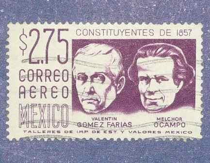 2 estampilla stamps méxico $1.20 $2.75 contituyentes de 1857