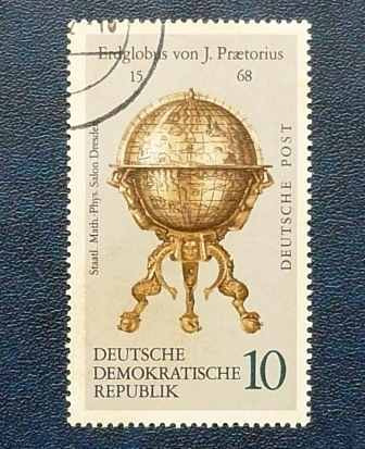 2 estampillas 5 10 alemania ddr globo celeste terraqueo 1279
