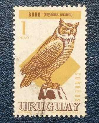 2 estampillas aves uruguay 50c hornero 1 peso buho 1967