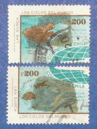 2 estampillas chile 1974 isla de pascua lan cielos del mundo
