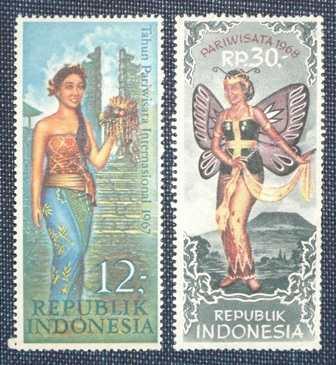 2 estampillas indonesia tahun pariwisata turismo 1967 1968