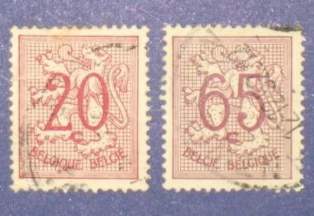 2 estampillas sellos stamps 20c 65c bélgica belgie belgique