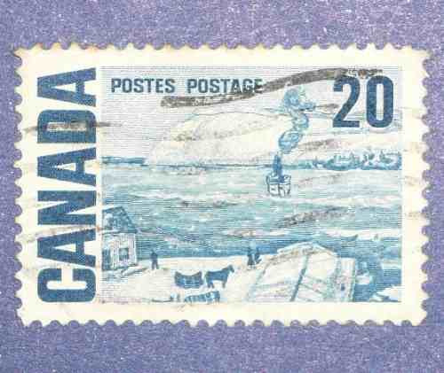 2 estampillas stamps canadá 10 20 postes postage paisajes