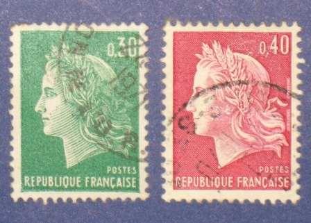 2 estampillas stamps francia 0.30 0.40 republique francaise