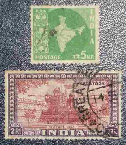 2 estampillas stamps india 5 n.p. mapa 2 rs red fort delhi