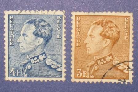 2 estampillas stamps leopoldo iii 3f 4f bélgica belgique