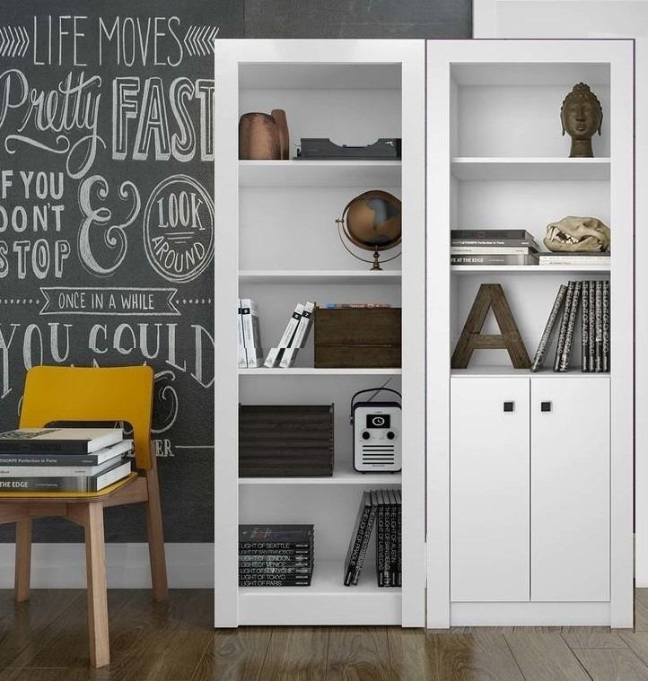 2 estantes armarios home office branco fechado aberto 2e - Estantes para armarios empotrados ...