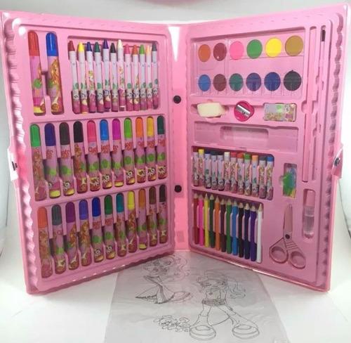 2 estojo maleta escolar pintura 86 peças canetinhas giz rosa