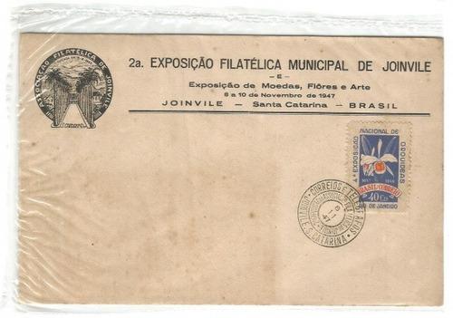 2ª exposição filatélica municipal de joinvile 1947  envelope