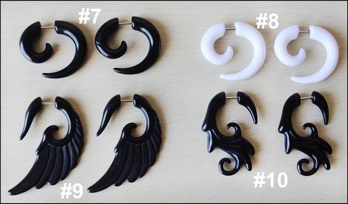 2 falsos expansores espiral piercing tattoo varios modelos
