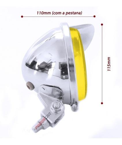 2 farol auxiliar cromado fusca moto triciclo carro c/pestana