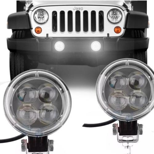 2 farol led redondo 12v 24v carro moto caminhão  jeep barco