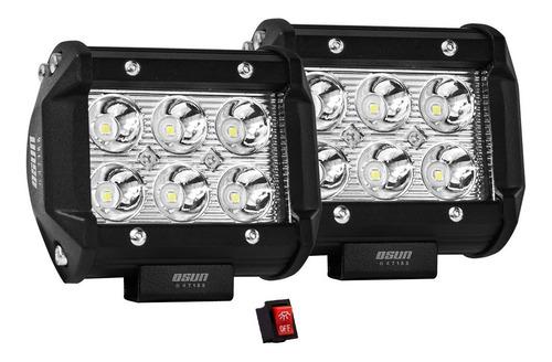 2 faros osun® de 6 led alta intensidad 100% metal+bases para jeep/motos/autos/grúas/montacargas universales consumo 18w
