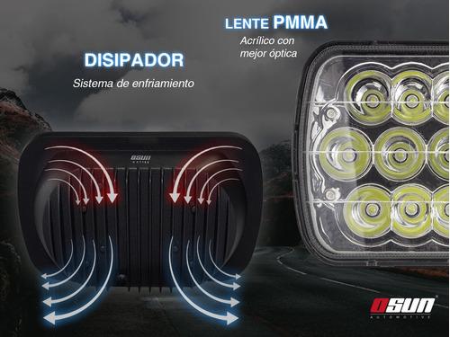 2 faros osun® de led delanteros h654 45w de 7 pulgadas alta intensidad para jeep con luz alta y baja en el mismo foco
