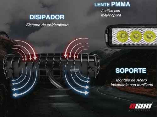 2 faros osun® de led diseño tipo barra 100% metal con 18w de luz concentrada blanca+bases universal 4x4/automotriz/motos