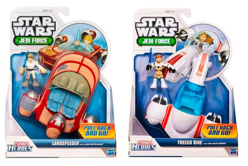 2 figuras star wars + 2 naves land playskool hasbro original