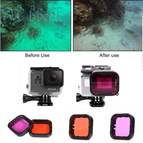 2 filtros telesin accesorios gopro hero 5 y 6 buceo snorkel