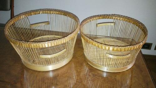 2 finos cestos de rattan, variedad de usos, origen tailandia