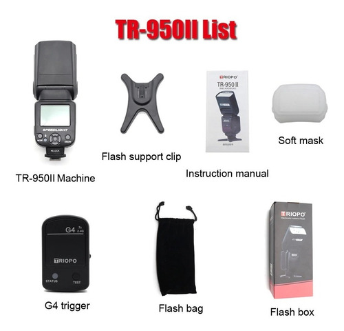 2 flashes triopo tr950ii p/ canon nikon fuji + emisor g4