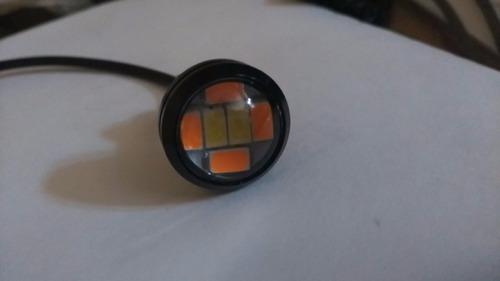 2 focos led ojo de aguila ambar blanco luz drl y direccional