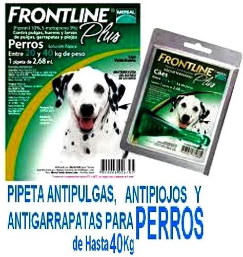 2 frontline de perro hasta 10 kg y 2 para perro hasta 40 kg
