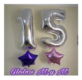 Globos De Helio Numeros Inflados Infladores Garrafas