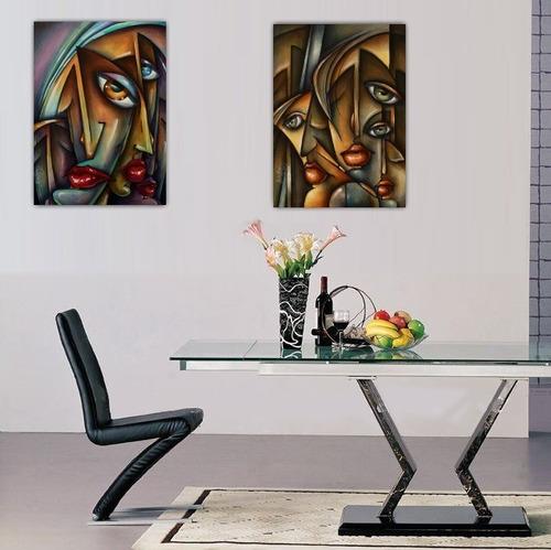 2 gravuras hd foto arte abstrata moderna 55x90cm faces