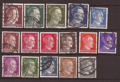 2º guerra alemania 16 sellos del fuhrer usados