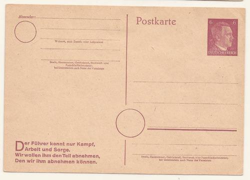 2º guerra alemania 1942 postkarte del fuhrer nueva - 093
