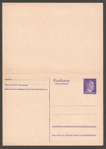 2º guerra alemania postkarte del fuhrer nueva retorno pago