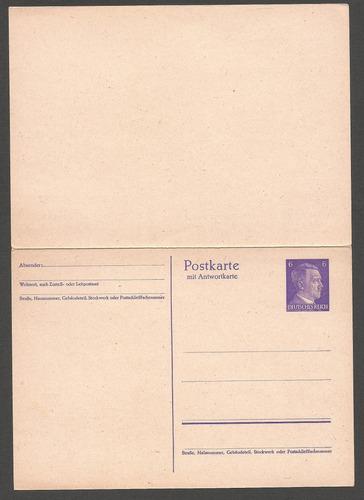 2º guerra alemania postkarte fuhrer retorno pago nueva - 254