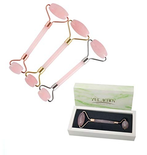 2 In 1 Rose Quartz Roller For Face Anti Aging/facial Jade Ro