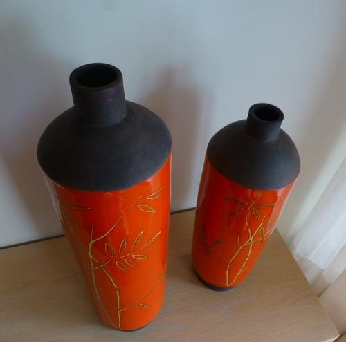 2 jarrones decoración esmalte naranjo altos