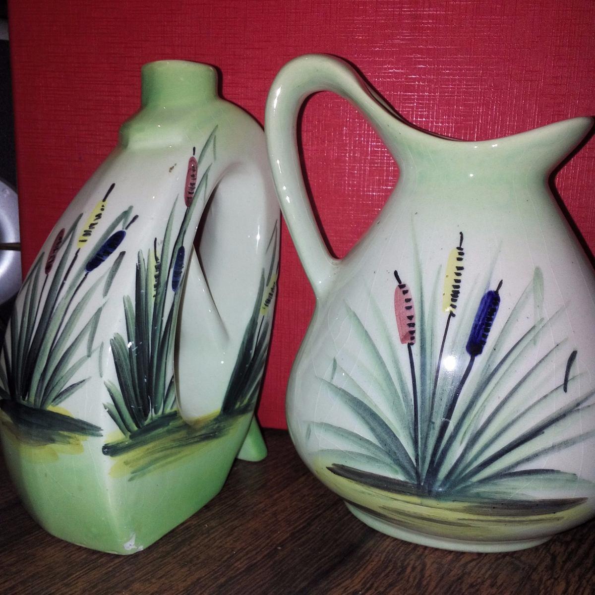 2 jarrones o floreros de ceramica pintados a mano 520 - Jarrones de ceramica ...