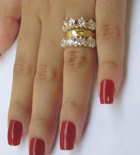 2 jóias - anel feminino aparador aliança prata 950 ouro zirc
