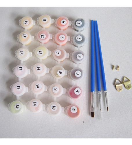 2 juegos de pintura al óleo pintados por kits de número -