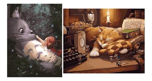2 juegos de pintura al óleo por número kits - gato