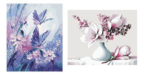 2 juegos de pintura al óleo por número kits - mariposa y