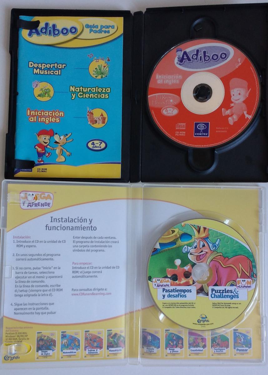 2 Juegos Pc Windows 98 Adiboo Ingles Y Pasatiempos Y Desafio 100