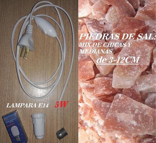 2 kit de cables blanco foco 5w y 2 kg piedras de sal ch/med
